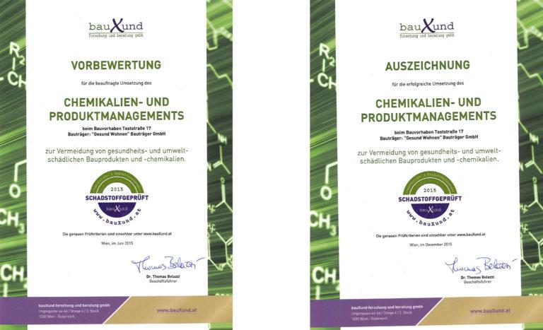Urkunden für das bauXund Schadstoffgeprüft Prüfsiegel